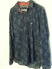 Dudalina Sport men's size 42 button down long sleeve shirt blue white