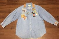 VINTAGE Country Legends Denim Shirt Embroidered Horse Riding Long Sleeve Size M