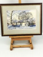 Vintage Beautiful Original Watercolour Signed Country Winter Wonderland Snow