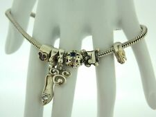 Disney Sterling Silver Bracelet with 6 Charms Signed Disney Cham 925