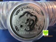 2000 AUSTRALIAN LUNAR YEAR OF THE DRAGON  1 oz.  SILVER COIN BU SERIES 1