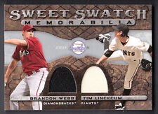 Brandon Webb-Tim Lincecum 2009 UD Sweet Spot Sweet Swatch Dual Game Jersey Card