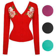 Hearts & Roses London Floral Rose Embroidery Vintage 1950s Retro Cardigan Top