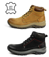 Mens Genuine Leather Lace Up Ankle Boots Smart Biker Casual Work Shoes Size UK