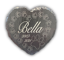 More details for memorial plaque for pet cat dog slate marker heart personalised grave stone
