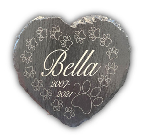 Memorial Plaque For Pet Cat Dog Slate Marker Heart Personalised Grave Stone