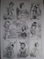 Dodicesima notte caratteri 1860 Old caricature stampa