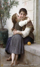 """A Little Coaxing,"" William Bouguereau, Reproduction in Oil, 40""x25"""