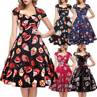 Women's Halloween Pumpkin Skull Print Retro Vintage Rockabilly Swing Party Dress