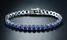 Tennis Bracelet Tanzanite Rounds 14k White Gold Finish Silver Art Deco Womens