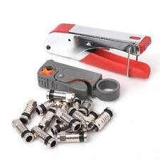 Coaxial Compression BNC Connector RG6 RG59 Coax Cable Stripper Crimper Tool set