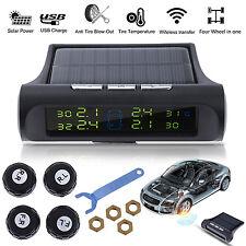 Wireless Car Truck TPMS Tire Pressure LCD Monitor System 4 Sensor Solar Powered