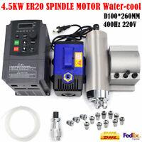 4.5KW 220V Spindle Motor ER20 Water-cooling & 5.5KW VFD Inverter Driver 24000RPM