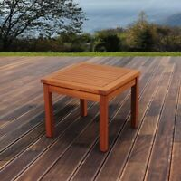 Eucalyptus Square Side Table Weather Design Resistant Patio Backyard Furniture