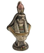 "11"" Egyptian Horus Bust On Plinth Sculpture Egypt God Statue Pagan Falcon Figure"