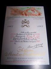 étiquette vin Mouton Rothschild 1963 wine label wein etikett specimen discret
