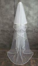 "IVORY / WHITE / OFF WHITE 2 TIER CHAPEL LENGTH WEDDING VEIL SATIN EDGE 106"" NEW"