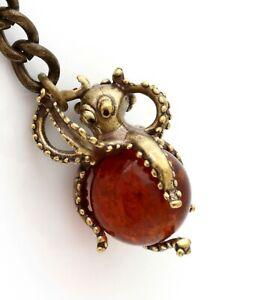 Octopus Brass Bronze Keychain Keyring Animal Figurine Baltic Amber Pendant