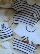 BS008 KNITTING PATTERN BABY'S SWEATER & HAT WITH NAUTICAL THEME IN DK 12-24 INS