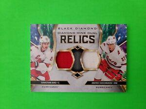 2020/2021 Upper Deck Black Diamond Dual Relics Aho/Svechnikov (red/white) jersey