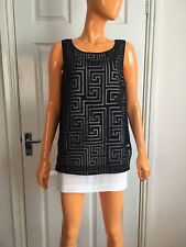 Elizabeth & James Black White Silk Lined Martine Tunic Top RRP£285 Size S NWT