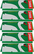 5 x REGULAR SIZE SWAN GREEN CIGARETTE ROLLING PAPERS - 50 PAPERS PER PACK
