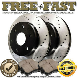 Stirling For Both Left and Right 2016 for Chevrolet Colorado Front Premium Quality Cross Drilled and Slotted Coated Disc Brake Rotors And Ceramic Brake Pads - One Year Warranty