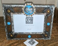 """NWT Horse Heart Theme Decorated Frame 4"""" x 6"""" Photo Picture Western Silver Shoes"""