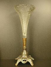 Vase de style art nouveau en verre et cuivre argenté 864 g  H : 35 cm c 1950