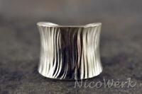 Silberring Vintage Breit Mit struktur Ring Silber 925 Verstellbar Offen