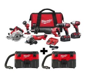 M18 Cordless Combo Tool Bags Wet/Dry Vacuums 18Volt Li-Ion Batteries Charger Set