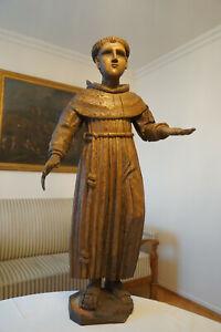 Renaissance Holz Heiligenfigur Heiliger Antonius 82 cm geschnitzt 16./17. Jh.
