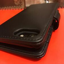Genuine Cuero Italiano Real Estuche Negro High End Designer Folio Libro iPhone 7