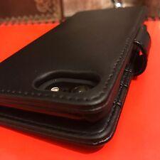 Genuine Real Italian Leather Black Case High End Designer Folio Book iPhone 7