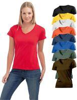 Hanes Tagless Plain Cotton Womens Womans Girls Ladies V Vee-Neck Tee T-Shirt