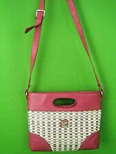 PETUSCO SPAIN NEW Hot Pink Leather with Woven Accent Medium Shoulder Bag