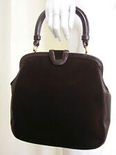 Vintage NETTIE ROSENSTEIN Brown Suede & Leather Handbag Purse