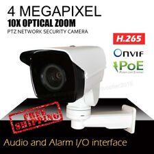 4MP PTZ Security Cameras 10x Optical Zoom IR H.265 POE Audio+Alarm I/O SD slot