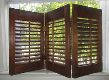 Vintage Attractive Brown Window Wood Shutters, Folding, Three Panels, 17 X 30""