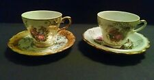 Set of 2 Vintage Colonial Courting Couple Demitasse Cups & Saucers W/ Gold Trim