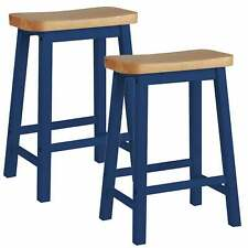Pair of Hand Painted Curved Seat Wooden Bar Stools - Navy