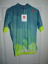 Castelli Men's Cycling Flusso Jersey Short Sleeve Blue Green XL NEW
