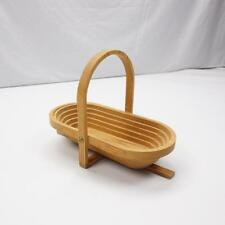 WOODEN COLLAPSIBLE Collectible Bowl Basket or Hotplate w/ Handle 14x6