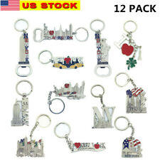 12 Pack New York City Silver Metal Keychains NYC  KeyRing Souvenir  Gift Set