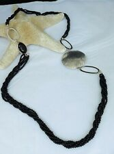 QVC STERLING SILVER 3 STRAND ONYX BEAD AND TEXTURED LINK ONYX CABOCHON NECKLACE