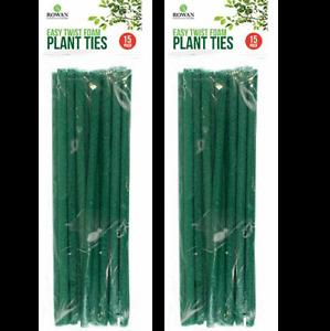 30 Plant Foam Ties Green Wire Flexible Cable Bendy Garden Support Twist Tie New