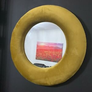 50cm Round Wall Mirror Round Velvet Frame Wall Mirror Mustard Round Mirror