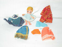 Vintage Ideal Flatsy Doll Lot with clothing small (Bin 9)
