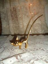 Vintage Brass Cat Figurine Ring Holder With Rhinestone Eyes