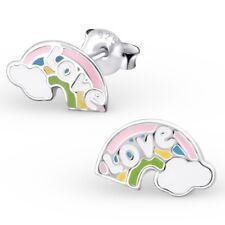enfants filles Paire argent sterling Rainbow Love Boucles d'oreilles boxed neuf
